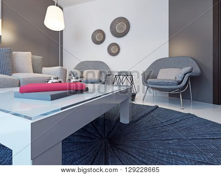 Low table on a round carpet. Design of lounge with white and grey walls soft furniture coffe table and floor lamp. 3D render