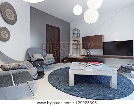 White living room with tv stand and bookshelves. Minimalist interior of bright lounge with white and grey colored walls white low table on blue carpet on center. 3D render