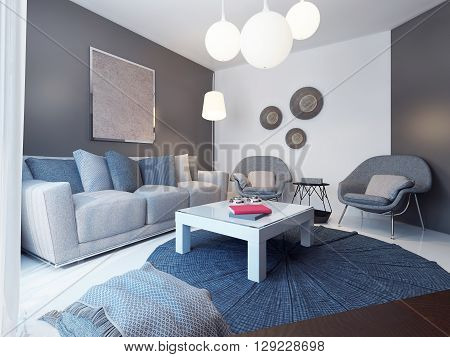 Cozy lounge room minimalist style. 3D render