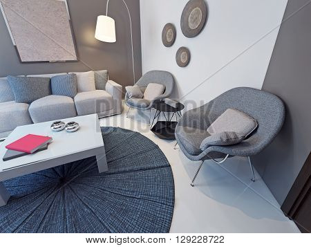 Sitting room contemporary style. Designer white table with glass top. Soft furniture fabric. Curved floor lamp in the corner. 3D render