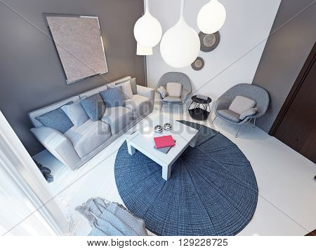 Spacious and bright interior of modern living room. 3D render