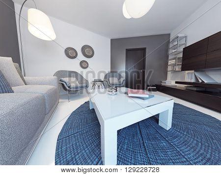 Minimalist living Room in Luxury Home. 3D render