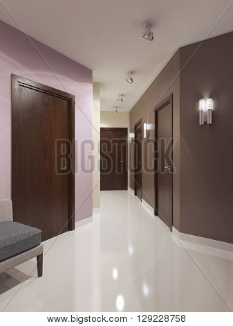 Idea of contemporary corridor. Dark brown doors and multicolored walls. Bright interior of elegant corridor with sconces and ceiling lamps. 3D render