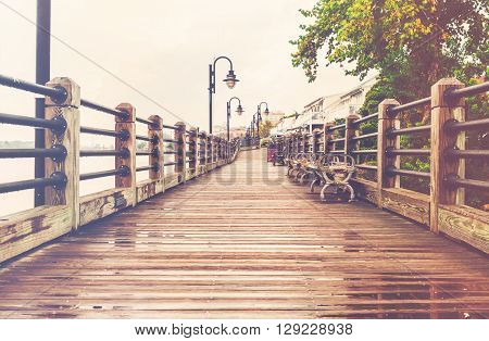 The boardwalk in Wilmington in North Carolina