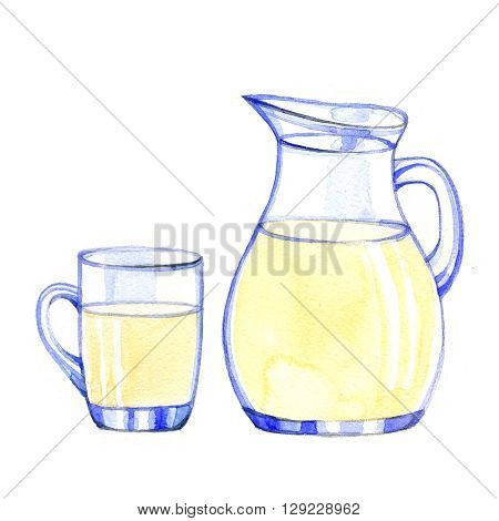 Watercolor fresh Milk Products on white background