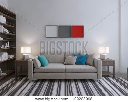 Modern lounge room idea. Sofa with colored pillows on stripped carpet in large room with bookcase. 3D render