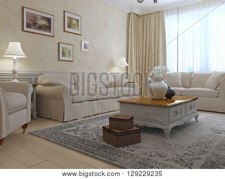 Provence lounge interior. Two sofas and armchair around exclusive low table with light glossy countertop in room with plaster wall. 3D render