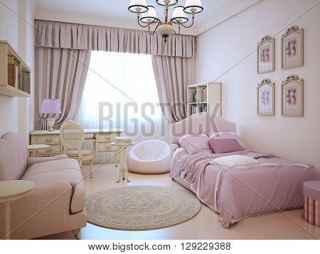 Urban apartment - cute pink girl's room. Large bed with pillows and blanket dressing table frameless armchair. 3D render
