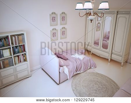 Teenager bedroom with bookcase. Shabby-chic interior with using of light linoleum and monotone wall in cream color. 3D render