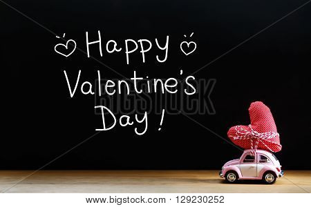 Valentines Day Message With Miniature Pink Car