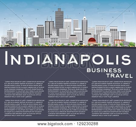 Indianapolis Skyline with Gray Buildings, Blue Sky and Copy Space. Vector Illustration. Business Travel and Tourism Concept with Modern Buildings. Image for Presentation Banner Placard and Web Site.