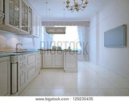 Spacy interior of classic kitchen. 3D render