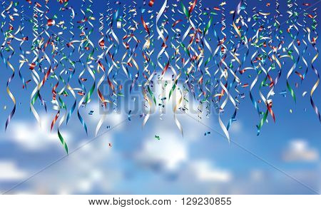 vector falling confetti in cloudy sky