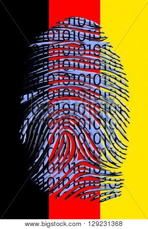 German Flag Binary Fingerprint 3D Render