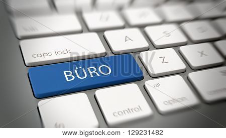 Online or internet concept with white text - BUERO (German: