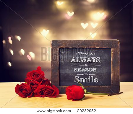 There Is A Always Reason To Smile Message With Roses