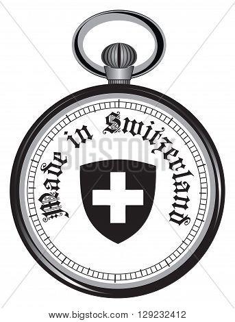 Creative symbol of Made in Switzerland. The theme Swiss watches.