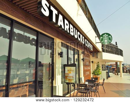 BANGKOK, THAILAND - APRIL 23, 2016: Starbucks coffee shop at