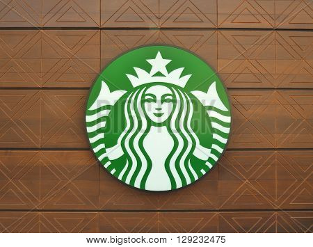 BANGKOK, THAILAND - APRIL 23, 2016: Logo of Starbucks coffee shop at