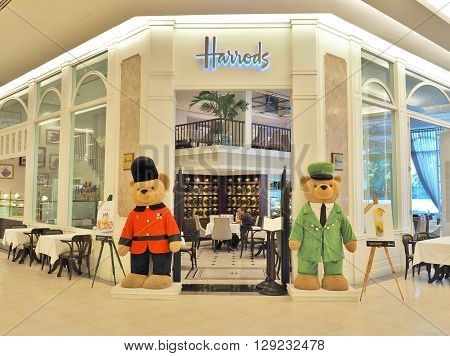 BANGKOK, THAILAND - MAY 2, 2016 : Harrods Tea Room - restaurant at Siam Paragon shopping mall in Bangkok, Thailand. This restaurant is the third Harrods Tea Room in Asia.