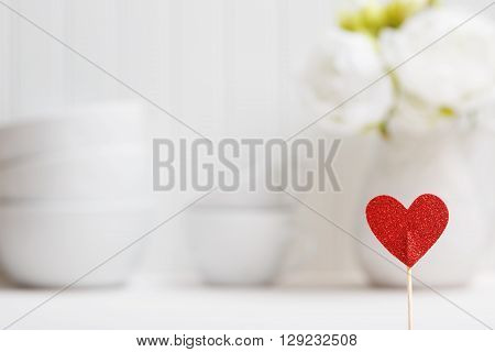 Small Red Heart With White Porcelain Dishes
