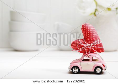 Miniature Pink Car Carrying Red Heart Cushion