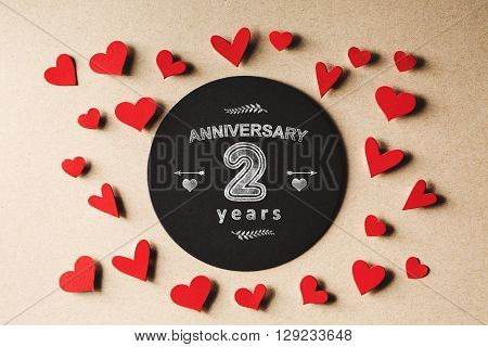 Anniversary 2 Years Message With Small Hearts