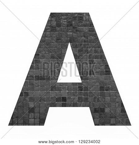 English alphabet letters with black mosaic background photo isolated on white background