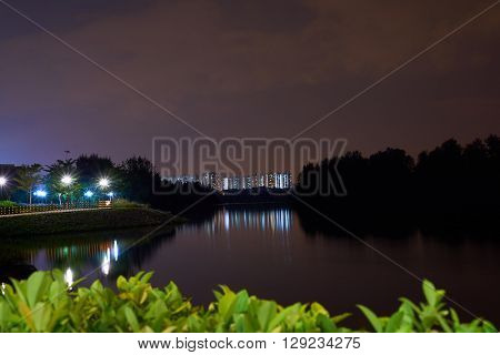 landscape night view at punggol waterways in singapore
