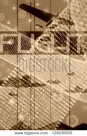 Retro airplane flight on halo dots backdrop.Image relative to airplane traveling. Clouds and flights text 3d