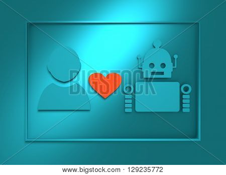Human and robot relationships. Robotics industry relative image. Heart icon between robot and man. 3D rendering