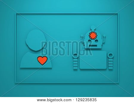 Human and robotdiversity. Robotics industry relative image. Heart icon inside man silhouette. Gear brain droid. 3D rendering