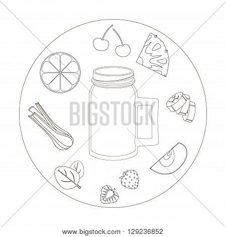illustration with the ingredients for a smoothie. smoothies, smoothies vector, smoothies art, love smoothies, smoothies image, smoothies illustration, smoothies design, drawing smoothies