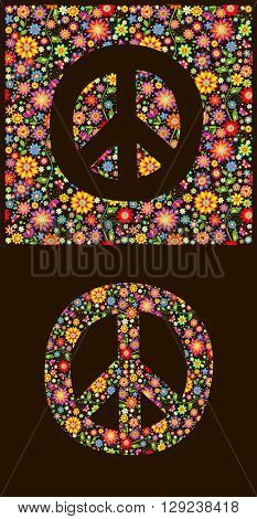 Flowers wallpaper with peace symbol