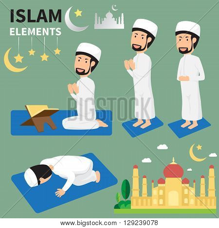 Ramadan month for Muslims and muslim Men Doing Religious Rituals. The traditions of Islam. Vector flat illustration.