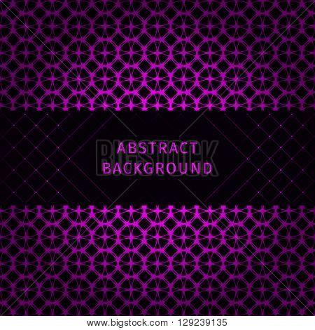 Magenta lights abstract geometric shape on dark background