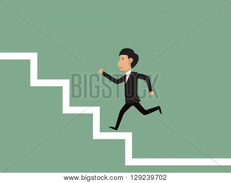 Stairs to success Business man running or jumping on stairs to success. Vector