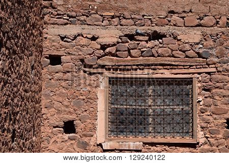 Kasbah Telouet, Morocco, the architectural details of ancient buildings, now home to the pigeons
