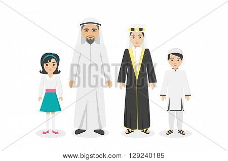 Arabian family people in national clothes design flat. Arabian man and family, arabesque or islamic people, muslim arabic family, boy arab, parent islam, man woman and children. Vector illustration