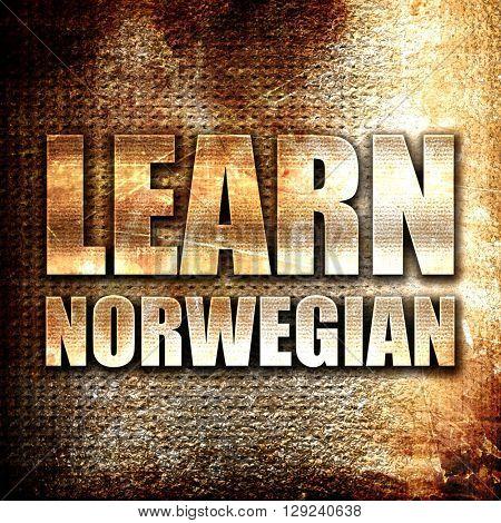 learn norwegian, rust writing on a grunge background