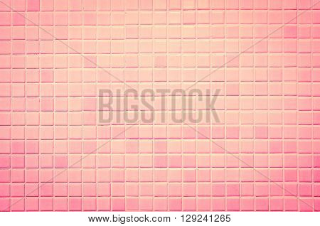 Vintage style design of pink mosaic tile texture wall of floor wall pattern decorate and background