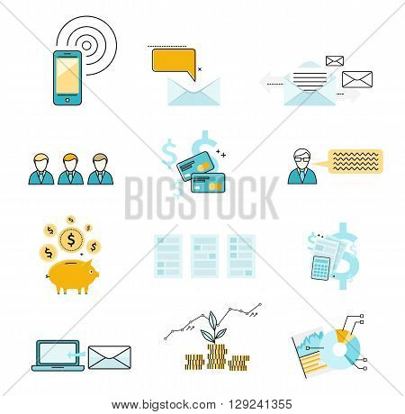 Set of icon investment finance negotiation correspondence. Business correspondence using e-mail. Financial capital accumulation. The graph or chart growth and development money. Vector illustration