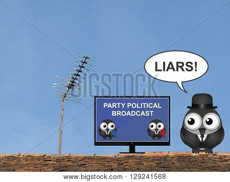 Comical bird shouting liars at a party political broadcast on the television perched on a rooftop against a clear blue sky