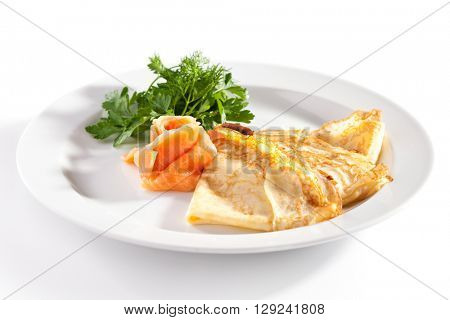 Crepes with Smoked Salmon and Green Herbs
