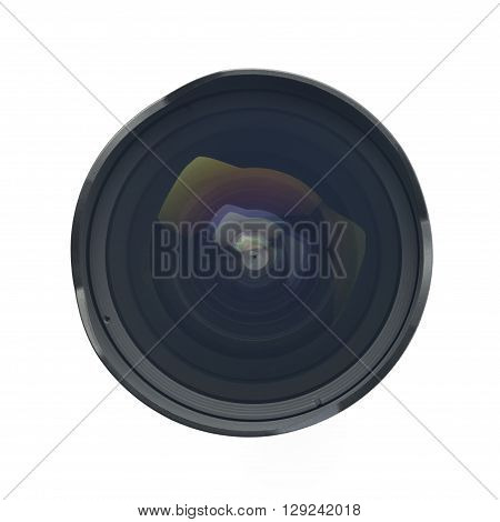 Top view of Camera Lens shot in Studio