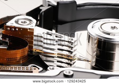 Taken apart computer hard disk drive background ** Note: Soft Focus at 100%, best at smaller sizes