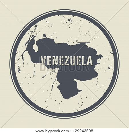 Stamp with the name and map of Venezuela, vector illustration