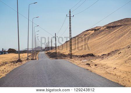 Desert road in Aswan, Egypt.