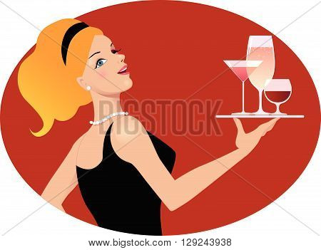 Waitress with drinks. Vintage inspired portrait of a young sexy woman holding a tray with various alcoholic drinks