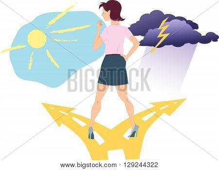 Woman standing at the fork in the road between happiness and depression. Bipolar disorder.